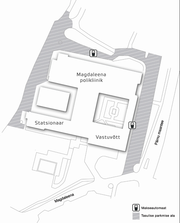 Car park for visitors and patients